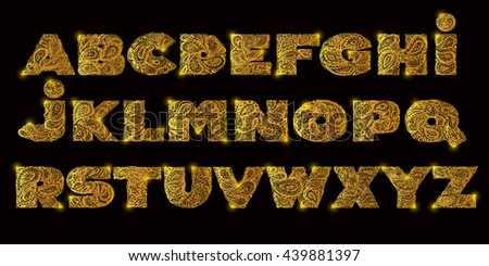 Decorative abc with a paisley zen doodle tattoo ornaments filling. Display abc font. Large letters of abs set. Hand drawn abc letters in old fashion vintage style. Abc for quote lettering. Golden abc. - stock vector