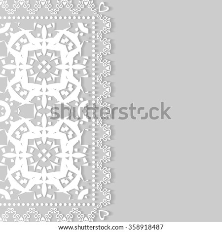 Decorative abstract background, wedding invitation or greeting card design with lace pattern. Beautiful luxury postcard, ornate page cover, ornamental vector illustration - stock vector