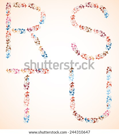 Decorative alphabet, capital letters R S T U, made of multicolor branches with spirals and leaves.Vector set. - stock vector