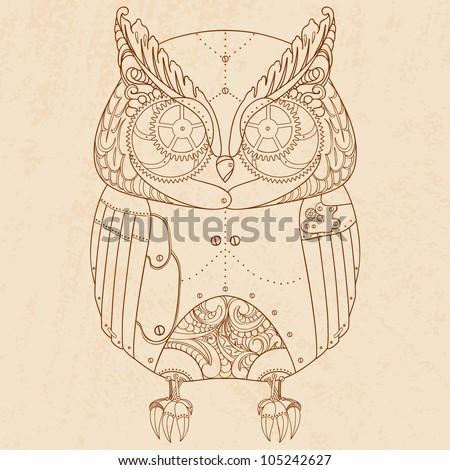 Decorative animal. Steam punk owl. - stock vector