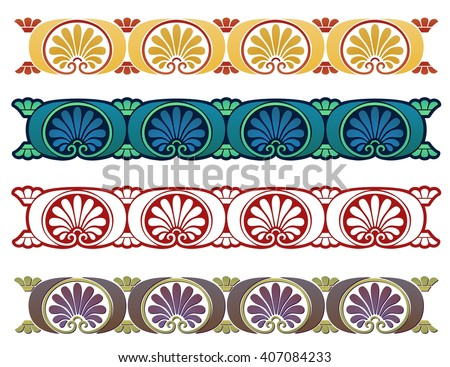 Decorative Art Nouveau style border element inspired by ancient Greek decor - stock vector