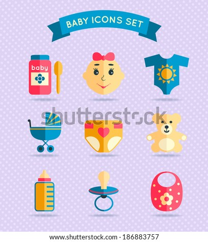 Decorative baby child icons set with food spoon cloth stroller diaper vector illustration. - stock vector
