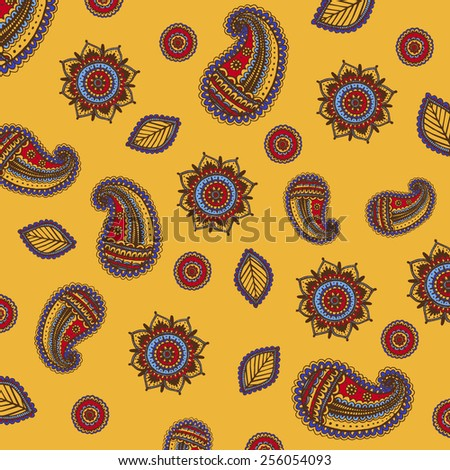 Decorative background Hand-Drawn Henna. Abstract Mandala Flowers and Paisley Doodle Vector Illustration Design Elements - stock vector