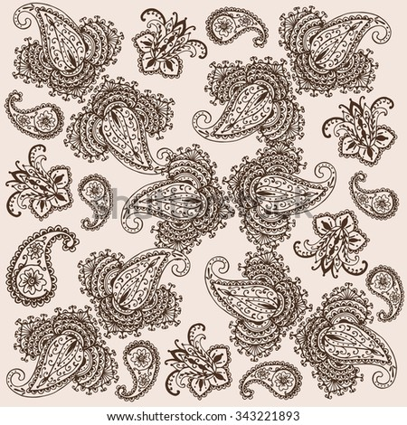 Decorative background Hand-Drawn Henna Mehndi Abstract Mandala Flowers and Paisley Doodle Vector Illustration Design Elements - stock vector