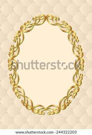 decorative background with golden frame - stock vector