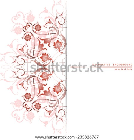 Decorative background with ornamental floral element - stock vector