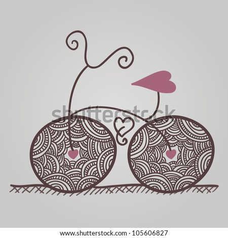 decorative bicycle with lacy wheels and heart shaped seat - stock vector