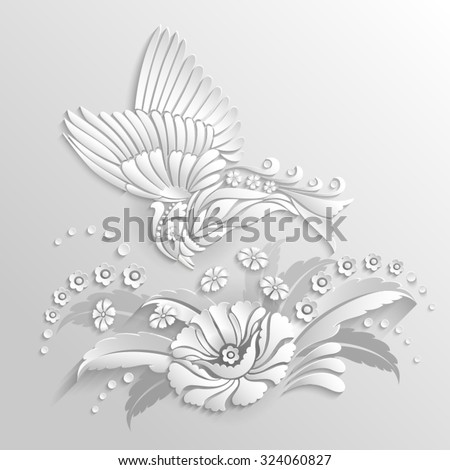 Decorative bird with flowers in 3d style - stock vector