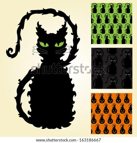 decorative black cat and 3 seamless patterns, design elements - stock vector