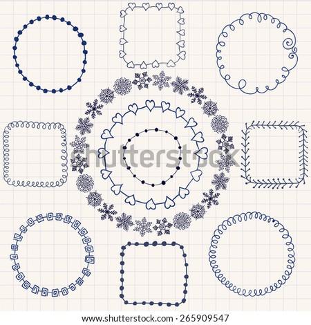 Decorative Black Hand Sketched Doodle Frames, Borders. Design Elements. Pen Drawing. Vector Illustration - stock vector