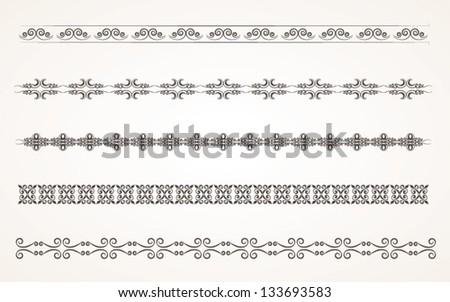 Decorative border elements for design Vector Illustration set 2 - stock vector