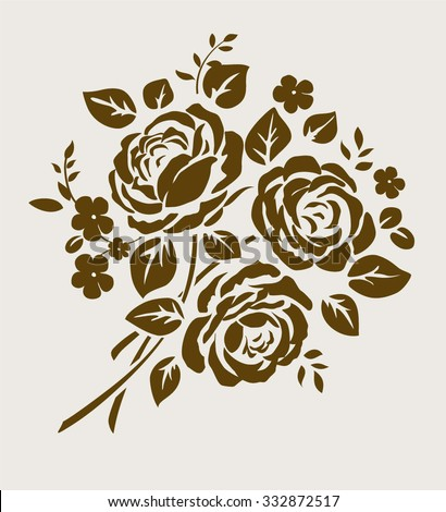 Decorative bouquet of flowers silhouette. Vector ornament with vintage roses - stock vector