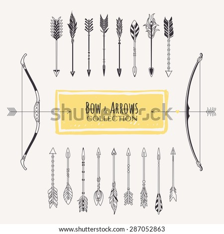 Decorative bows and arrows collection. Hand drawn vector design elements. - stock vector
