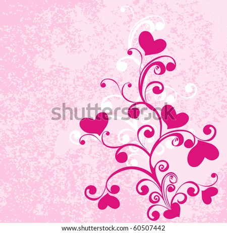 Decorative branch with hearts,  vector - stock vector