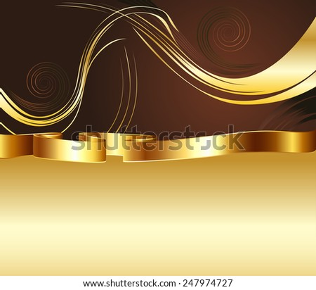 Decorative brown and gold background with floral elements. - stock vector