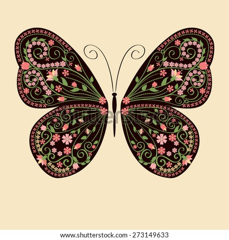 Decorative butterfly with floral decorative ornament. Vector illustration.  - stock vector