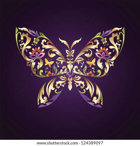 decorative butterfly with mix of floral ornament elements - stock vector