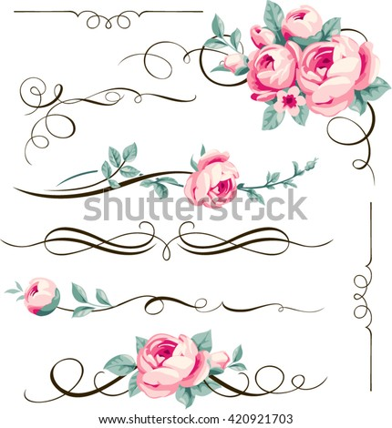 Decorative calligraphic elements and flowers for your design. Floral dividers and ornaments with pink rose - stock vector