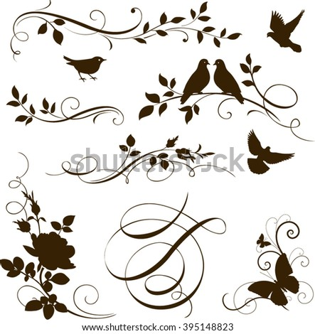 Decorative calligraphic tree branches with birds. Vector set of floral twigs for page decoration - stock vector
