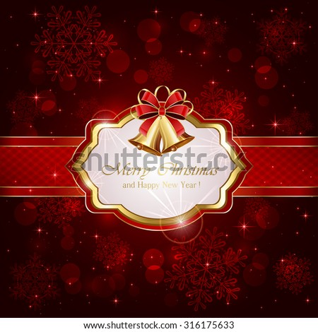 Decorative card with Christmas bells and bow on red background, illustration. - stock vector