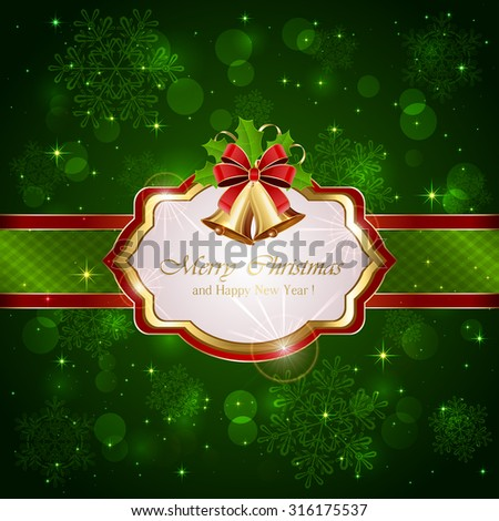Decorative card with Christmas bells, holly berries and red bow on green background, illustration. - stock vector