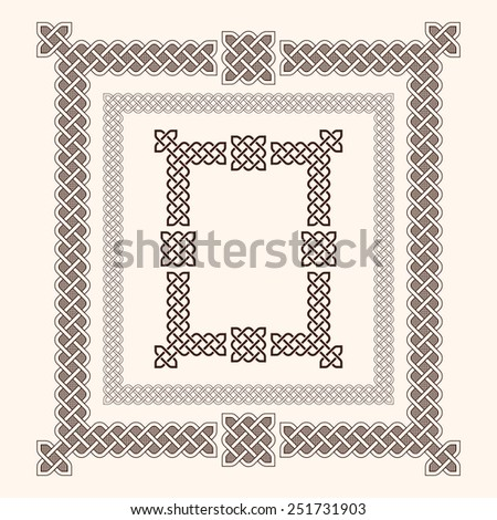 Decorative celtic knot style frames vector illustration