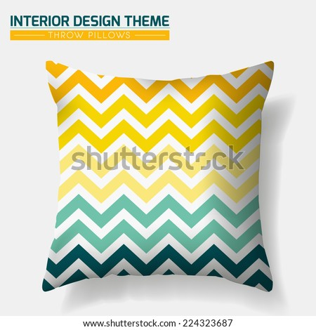 Decorative Cheerful Zig Zag Throw Pillow design template. Original pattern in Eco style is masked. Modern interior design element. Creative Sofa Toss Pillow. Vector design is layered, editable  - stock vector