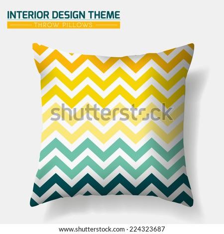 Decorative Cheerful Zig Zag Throw Pillow design template. Original pattern is complete masked. Modern interior design element. Creative Sofa Toss Pillow. Vector design is layered, editable  - stock vector