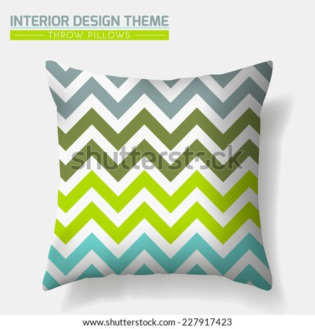 Decorative Cheerful ZigZag Throw Pillow design template. Original Forest pattern in Eco style is masked. Modern interior design element. Creative Sofa Toss Pillow. Vector design is layered, editable  - stock vector