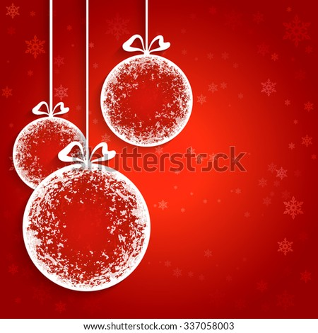 Decorative Christmas balls, paper decoration, vector background, eps10 - stock vector