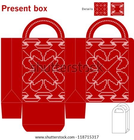 Decorative christmas box - stock vector
