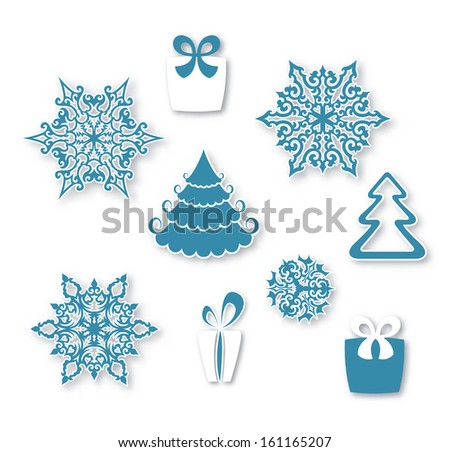 Decorative Christmas set - stock vector