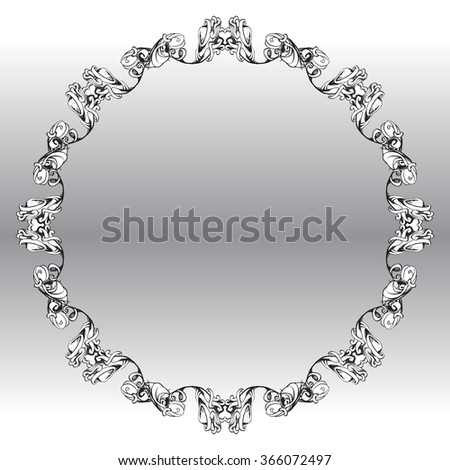 decorative circular scrolled frame in vintage style for decoration layout, framing, for text for advertising, vector illustration, ornamental frame - stock vector