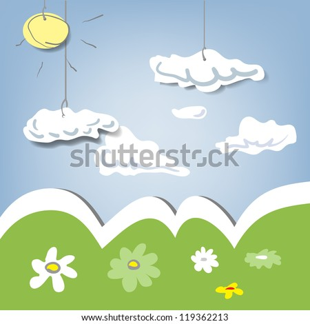 decorative clouds and meadow - stock vector