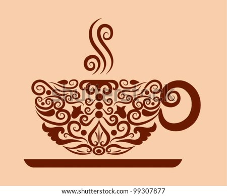 Decorative coffee, decorative a cup of coffee and floral ornament decoration - stock vector