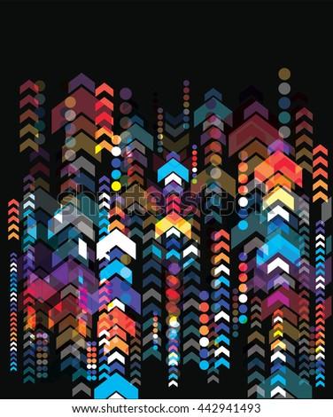 Decorative color arrows on black background.  vector illustration - stock vector