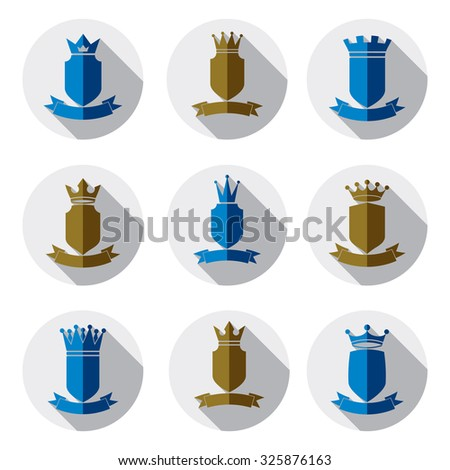 Decorative colorful coat of arms, protection theme vector symbols. Heraldry, stylish award design elements isolated on white.  - stock vector