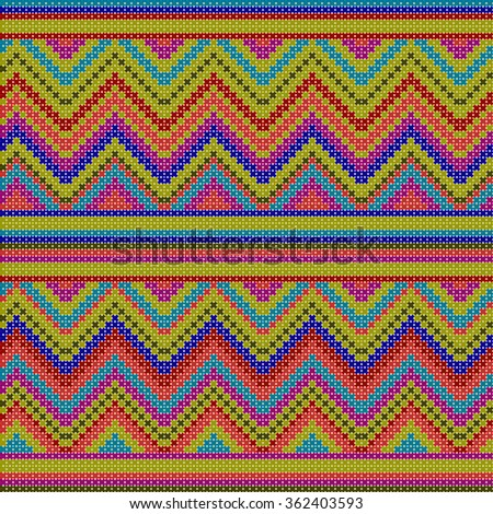 decorative colorful ethnic x-stitch zigzag seamless pattern - stock vector