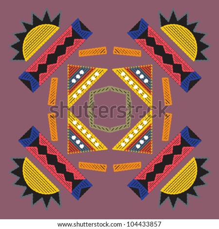 Decorative colorful pattern with a vibrant original African feel based on bead work - stock vector