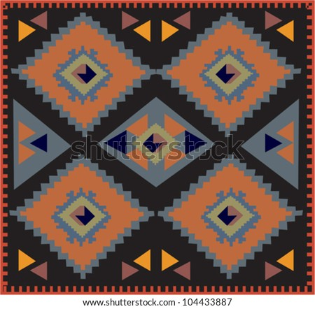 Decorative colorful pattern with a vibrant original African feel or native American influence - stock vector