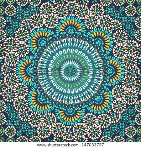 Decorative colorful seamless pattern in mosaic ethnic style. Vector background illustration - stock vector