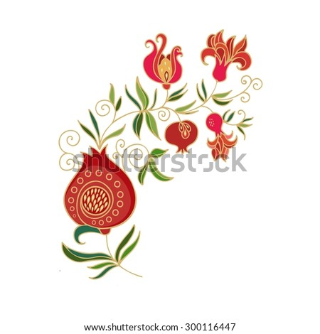 Decorative composition with pomegranate - vector - stock vector