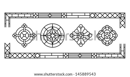 Decorative cross, a set of classic stained glass window design silhouettes, vector illustration  - stock vector