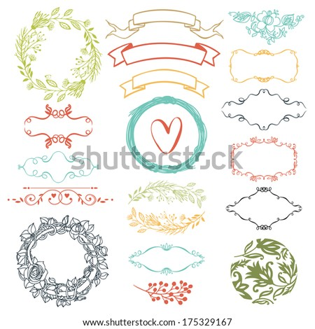 Decorative design elements, ribbons, heart and flowers - stock vector