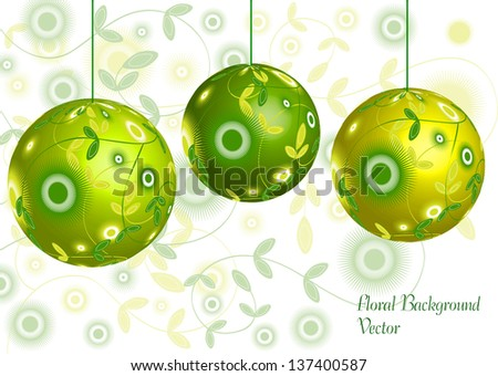 decorative dimensional balls with floral motives, vector concept - stock vector