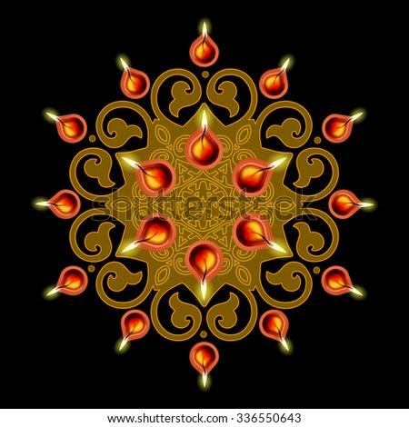 Decorative Diwali Lamps Design - stock vector