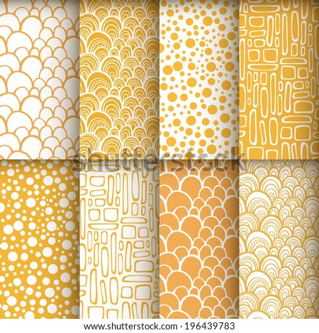 Decorative doodle geometric seamless patterns set. Vector illustration - stock vector