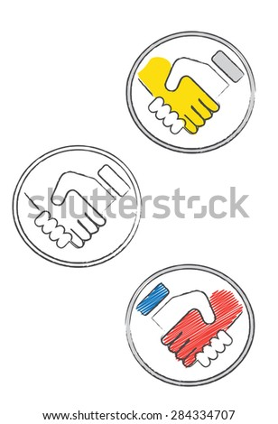 Decorative doodle set of handshake icons - stock vector