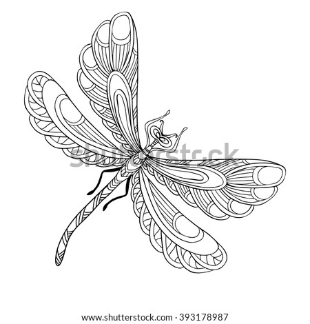 Decorative dragonfly. Coloring book for adult and older children. Coloring page with colored sample. Outline drawing. Vector illustration. - stock vector
