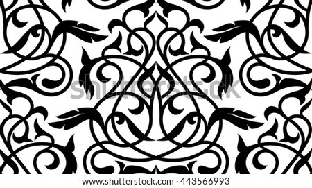 Decorative element eastern pattern.Damask ornament.Seamless white and black design.Oriental seamless endless monochrome tracery. - stock vector